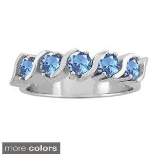 10k Gold Round-cut Birthstone Five-stone Ring