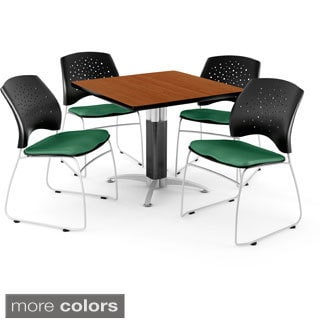 OFM Square Cherry Laminate Table with 4 Chairs