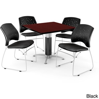 OFM Square Mahogany Laminate Table with 4 Chairs (More options available)