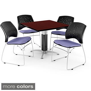 OFM Square Mahogany Laminate Table with 4 Chairs