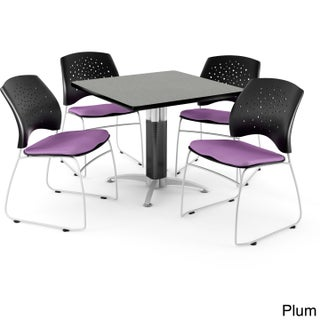 OFM Square Grey Nebula Laminate Table with 4 Chairs (More options available)