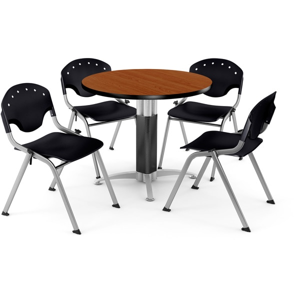 OFM 36-inch Round Cherry Laminate Table with 4 Chairs