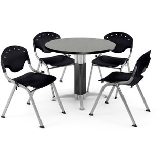 OFM 36-inch Round Grey Nebula Laminate Table with 4 Chairs (More options available)