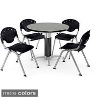 OFM 36-inch Round Grey Nebula Laminate Table with 4 Chairs