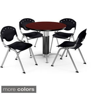 OFM 36-inch Round Mahogany Laminate Table with 4 Chairs