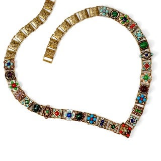 Sweet Romance Southwest Turquoise Coral Lapis Collar Necklace