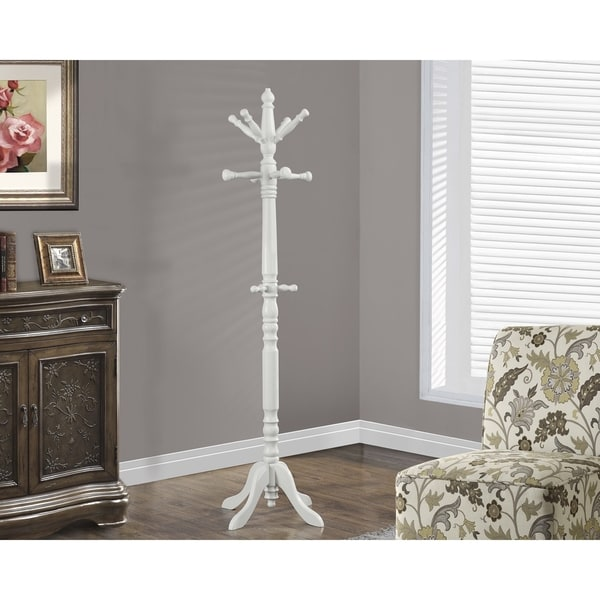 Antique White Traditional Solid Wood Coat Rack