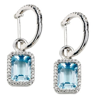Diamonds for a Cure 14kt White Gold 1/4ct Diamond and Blue Topaz Dangle Earrings