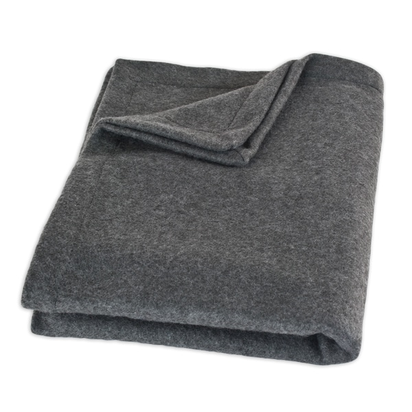 Fleece Charcoal Top Stitched Throw