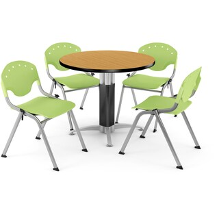 OFM 36-inch Round Oak Laminate Table with 4 Chairs (2 options available)