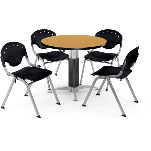 "OFM Breakroom 36"" Round Multi-purpose Table and 4 Rico Stacking Chairs"