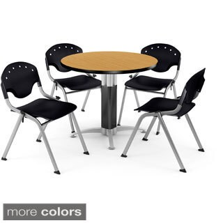 OFM 36-inch Round Oak Laminate Table with 4 Chairs