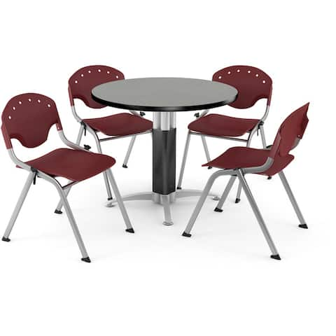 """OFM Breakroom, 42"""" Round Multi-purpose Table, 4 Rico Stacking Chairs"""