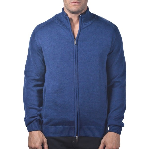 Shop Men S Italian Merino Wool Full Zip Sweater With
