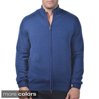 Men's Italian Merino Wool Full-zip Sweater with Pockets