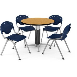 OFM Round Oak Laminate Table with 4 Chairs (5 options available)