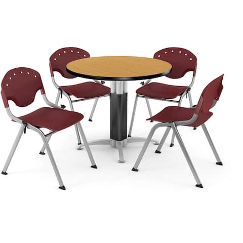 "OFM Breakroom, 42"" Round Multi-purpose Table, 4 Rico Stacking Chairs"