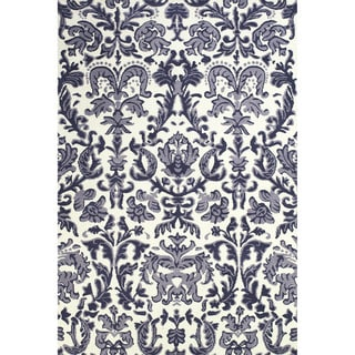 "Grand Bazaar Power Loomed Polyester Pia Rug in Lilac / White 2'-6"" x 8'"