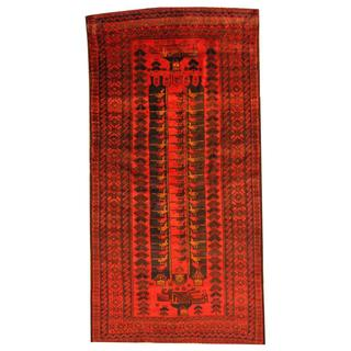 Herat Oriental Semi-antique Afghan Hand-knotted Tribal Balouchi Red/ Blue Wool Rug (5'7 x 10'11)