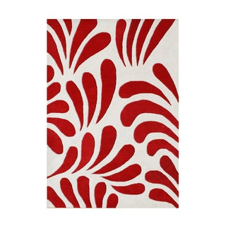 Alliyah Hand Made Red New Zealand Blend Wool Rug (8' x 10')