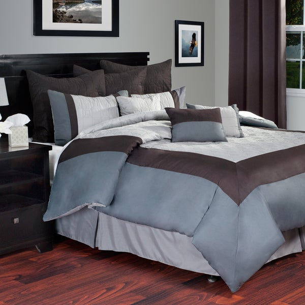 Shop Lavish Home 10 Piece Grey White Hotel Comforter Set Free Shipping Today Overstock 9658724