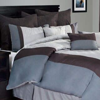 Lavish Home 10-piece Grey/ White Hotel Comforter Set