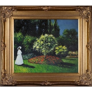 Claude Monet Jeanne-Marguerite Lecadre (Lady in a Garden) Hand Painted Framed Canvas Art