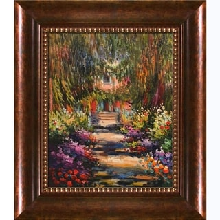 Claude Monet Garden Path at Giverny Hand Painted Framed Canvas Art
