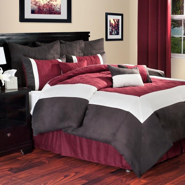 Windsor Home 10-piece Burgundy and Brown Hotel Comforter Set