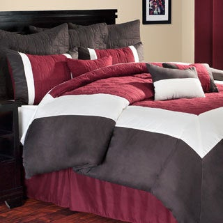 Lavish Home 10-piece Burgundy and Brown Hotel Comforter Set