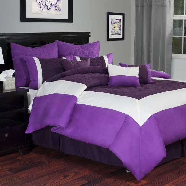 Lavish Home 10-piece Purple Hotel Comforter Set