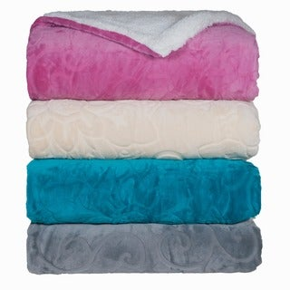 Lavish Home Floral Fleece/ Sherpa Plush Throw Blanket
