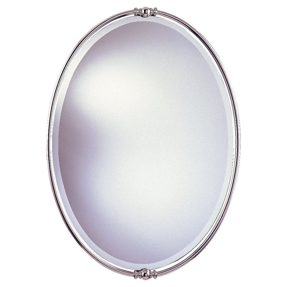 Shop Polished Nickel Minimalist Oval Mirror Glass Clear A N Overstock 9658773
