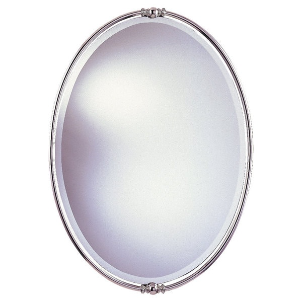 Shop Polished Nickel Minimalist Oval Mirror Glass Clear