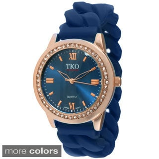 TKO Orlogi Women's Rubber Chain Crystal Accent Watch