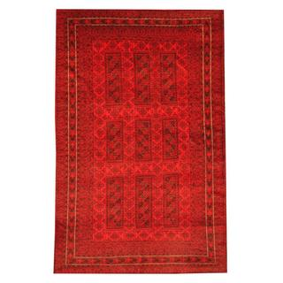 Herat Oriental Semi-antique Afghan Hand-knotted Tribal Balouchi Red/ Black Wool Rug (6'2 x 9'7)