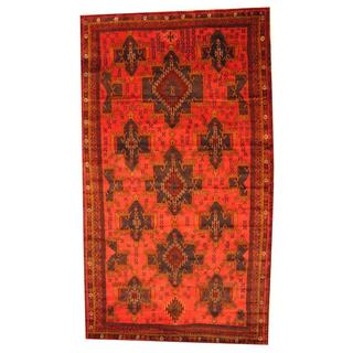 Herat Oriental Semi-antique Afghan Hand-knotted Tribal Balouchi Rust/ Blue Wool Rug (5'7 x 9'10)