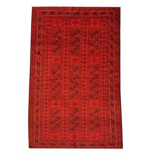 Herat Oriental Semi-antique Afghan Hand-knotted Tribal Balouchi Red/ Black Wool Rug (6' x 9'6)