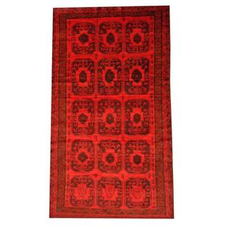 Herat Oriental Semi-antique Afghan Hand-knotted Tribal Balouchi Red/ Brown Wool Rug (5'4 x 9'6)