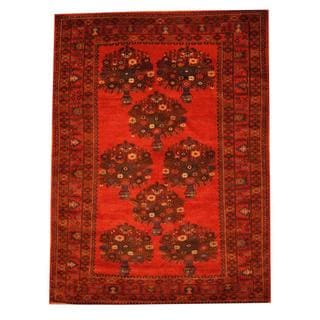 Herat Oriental Semi-antique Afghan Hand-knotted Tribal Balouchi Red/ Blue Wool Rug (6'11 x 9'5)