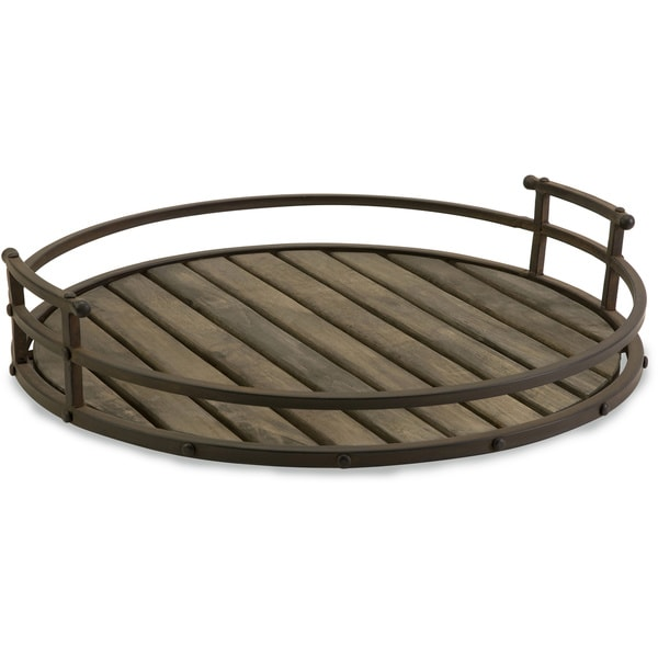 Shop Cki Vermont Iron And Wood Tray Free Shipping Today
