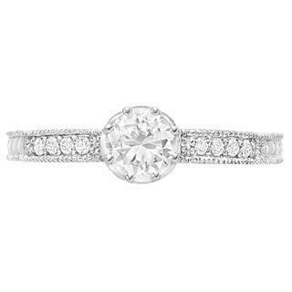 Sterling Silver 1/3ct TDW Round-cut Diamond Moissanite Engagement Ring (G-H, SI1-SI2)