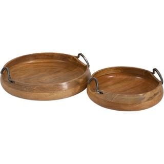 Vallari Round Wood Trays (Set of 2)