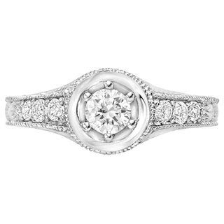 Sterling Silver 1/5ct TDW Diamond Moissanite Engagement Ring (G-H, SI1-SI2)