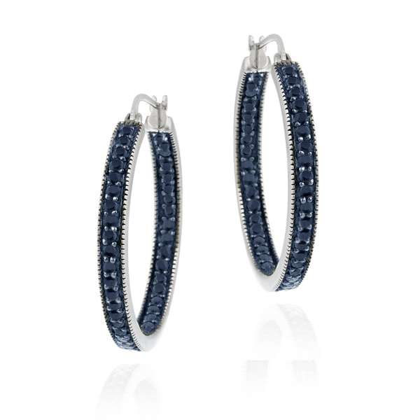 DB Designs Sterling Silver 7/8ct TDW Blue Diamond Hoop Earrings