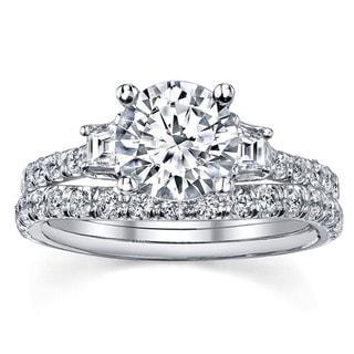 18k White Gold 1 1/3ct TDW EGL-certified Diamond Bridal Ring Set