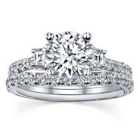 18k White Gold 1 1/3ct TDW EGL-certified Diamond Bridal Ring Set