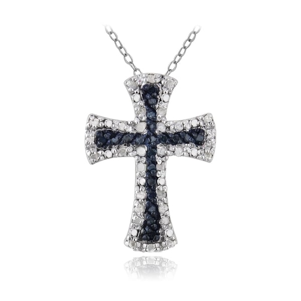 DB Designs Sterling Silver 1/2ct TDW Blue and White Diamond Cross Necklace