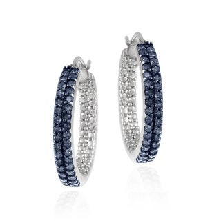 DB Designs Sterling Silver 4/5ct TDW Blue Diamond Hoop Earrings (I2-I3)