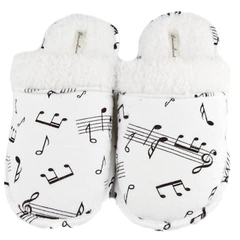 Leisureland Womens Music Note Print Cotton Flannel Slippers
